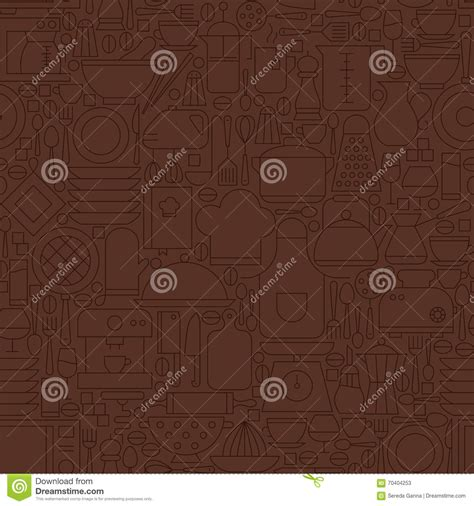 pattern brown line thin line brown kitchenware and cooking seamless pattern