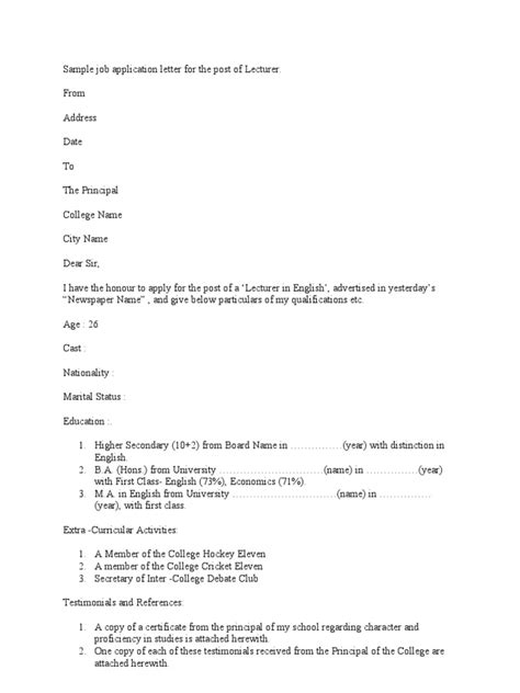 Application Letter Format For Post Of Lecturer Sle Application Letter For The Post Of Lecturer