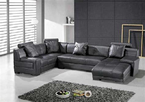 Contemporary Sectionals Omega Modern Black Leather Sectional Sofa Leather Sectionals