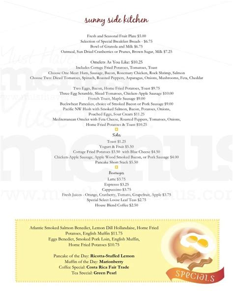 one page menu template breakfast menu template selimtd
