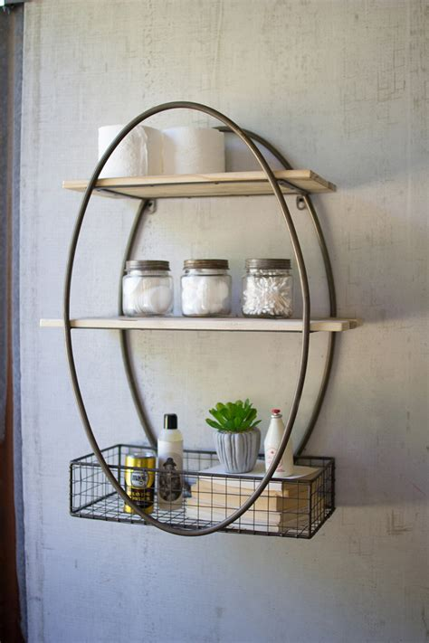 tall oval metal framed wall unit  recycled wood shelves