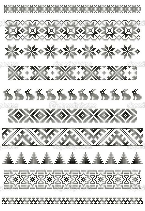 embroidery muster set of borders embroidery cross floral motifs pattern