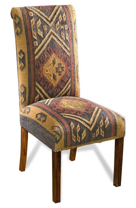 Kilim Upholstery Fabric Copper Creek Rustic Cabin Woven Kilim Dining Chairs
