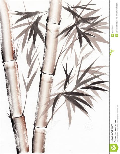 watercolor painting of bamboo stock illustration image 26575919