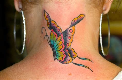 butterfly neck tattoos butterfly on back neck