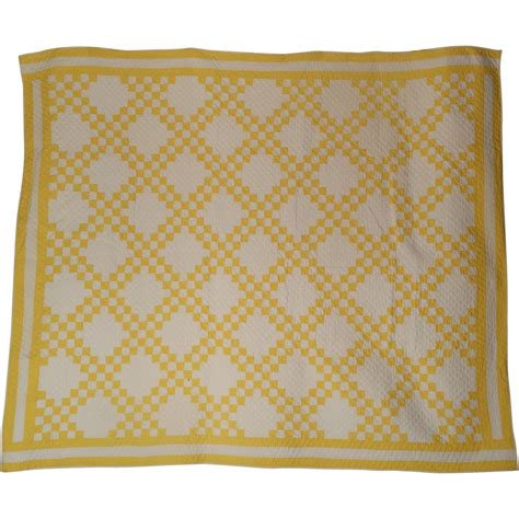 Yellow And White Quilts by Antique Quilt Yellow And White Chain Sold