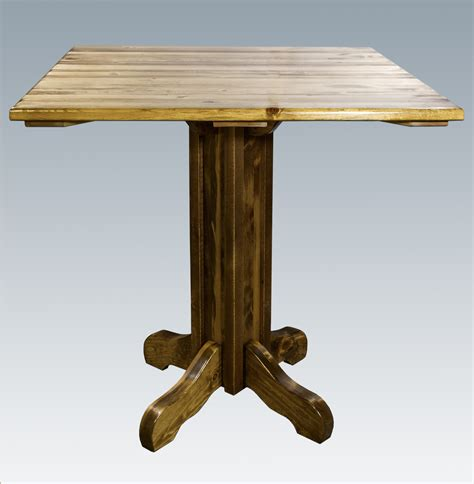 homestead timber frame center pedestal table with square