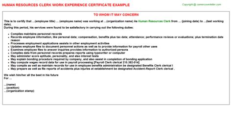 Work Experience Letter For Hr Executive Human Resources Manager Work Experience Certificates