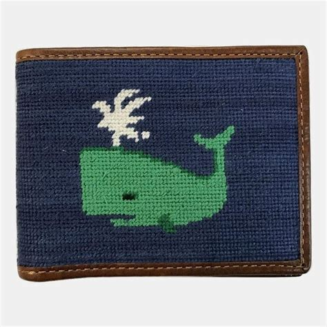 needlepoint navy smathers branson whale needlepoint bifold wallet navy murray s toggery shop