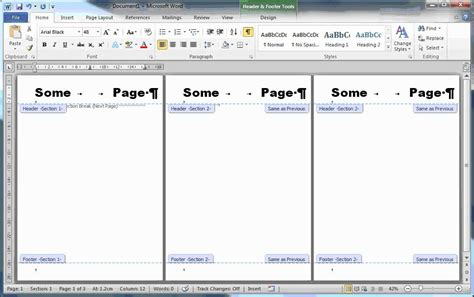 sections microsoft word page numbering headers cover pages and sections in ms