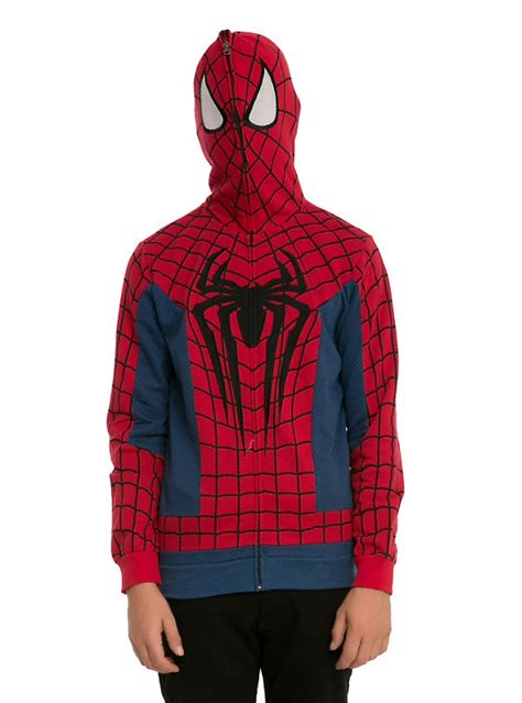 Sweater Hoodie The Amazing 2 marvel spider costume zip hoodie topic