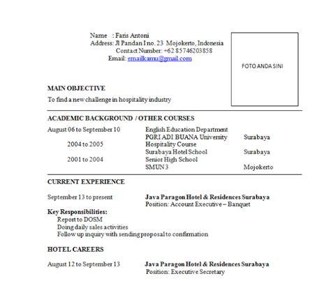 contoh surat lamaran kerja di hotel terbaru contoh surat untuk lamaran