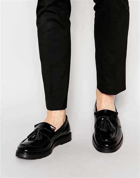 asos mens loafers asos tassel loafers in black leather in black for lyst