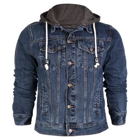 Jaket Oor denim hooded jacket mens oasis fashion