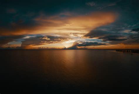 beach clouds seascape horizon  hd nature
