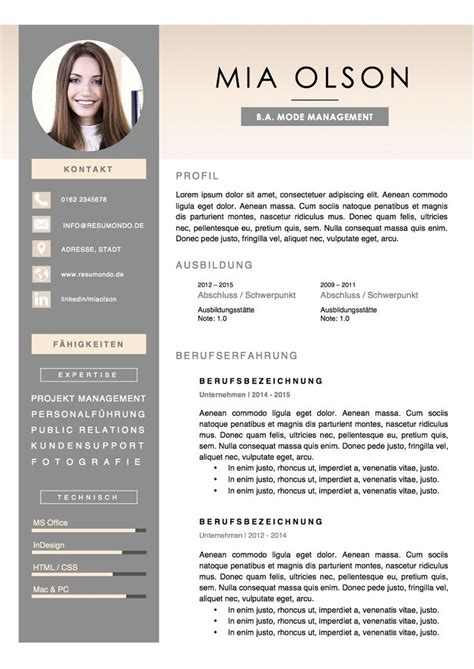 Cv Design Vorlagen 25 best ideas about bewerbung lebenslauf on