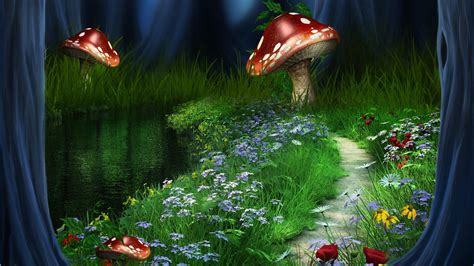 wallpaper flower fantasy huge mushrooms on the flower field fantasy art wallpaper