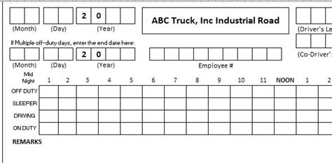 truck log book template daily truck driver log book template excel