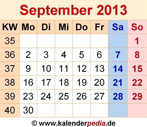 Calendar September 2013 Kalender September 2013 Als Excel Vorlagen