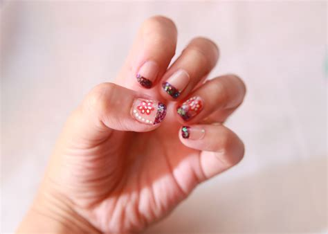 easy nail art wikihow how to do french nail art with flowers and dots pattern