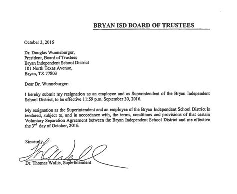 Resignation Letter Of Zee News Bryan Isd Releases Seperation Agreement Resignation Letter From Wallis 9news