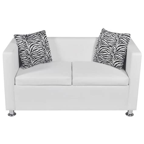 white leather 2 seater sofa artificial leather 2 seater sofa white vidaxl com