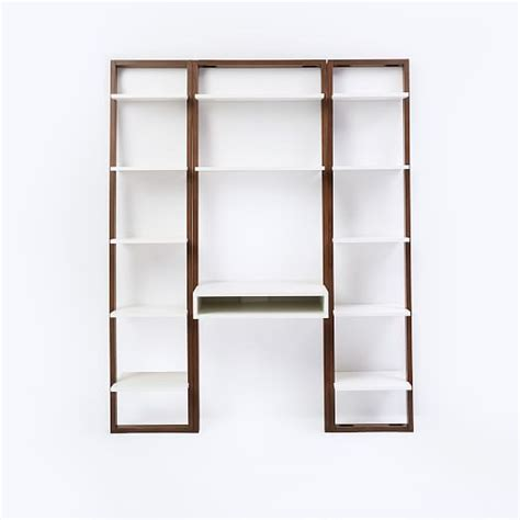 Narrow Ladder Bookcase Ladder Shelf Desk Narrow Bookshelf Set West Elm