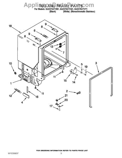 parts for whirlpool gu2275xtvq1 tub and frame parts