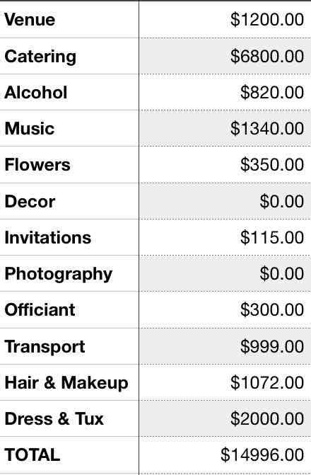 15000 wedding budget breakdown millennial - Wedding Budget Breakdown 15000