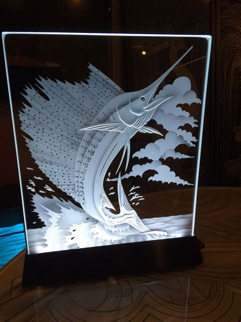 illuminated glass art  superior etched carved glass