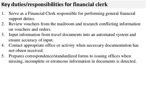 financial clerk description