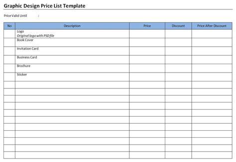 Graphic Design Price List Template Purchase Price Allocation Template