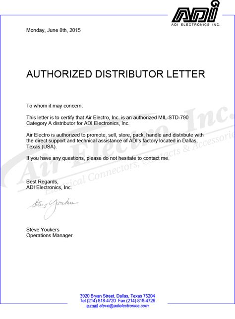 Authorization Letter Of Distribution Featured Suppliers Adi Electronics