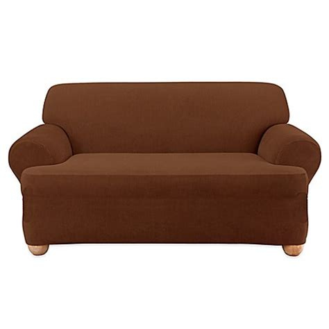 corduroy loveseat sure fit 174 stretch corduroy loveseat slipcover bed bath