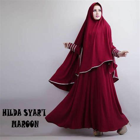 Busana Muslim Syari Terbaru Adila Maxi Maroon Ak Maxi Wanita gamis syar i modern hilda maroon http warongmuslim gamis syari gamis syari modern hilda