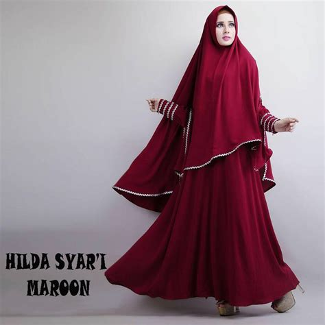 Baju Muslim Gamis Syar I Rubiah Maroon gamis syar i modern hilda maroon http warongmuslim gamis syari gamis syari modern hilda