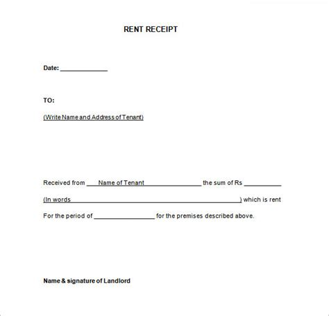 house rent receipt template doc rental receipt template 39 free word excel pdf