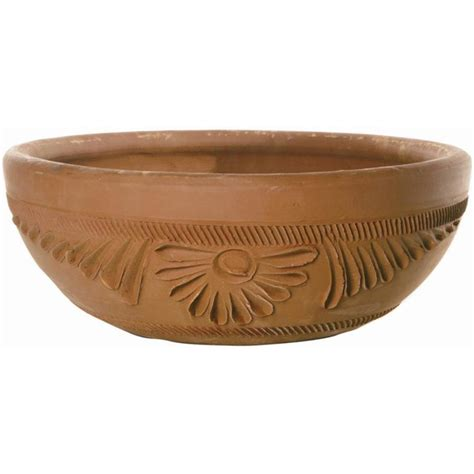 Clay Pots Planters by Shop 15 511 In X 5 984 In Terra Cotta Clay Rustic Low Bowl