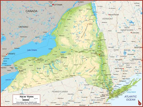 physical map of new york new york state physical state map