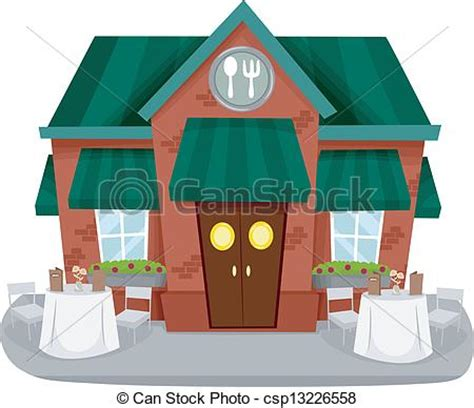 clipart ristorante illustration of a restaurant facade with tables and chairs