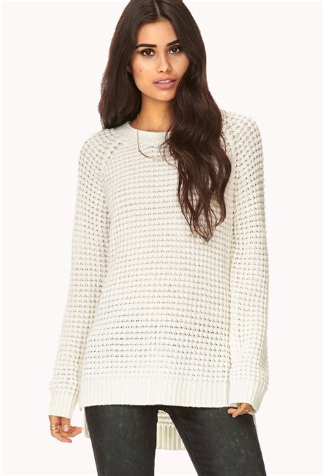 knitted sweaters forever 21 forever 21 popcorn knit sweater in white lyst