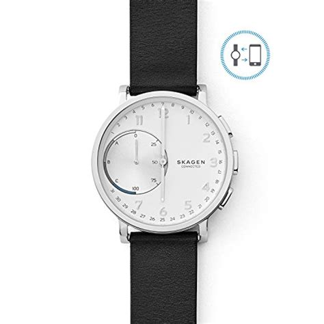 amazon com skagen hagen titanium and leather hybrid smartwatch skagen men s 42mm hagen connected black leather hybrid