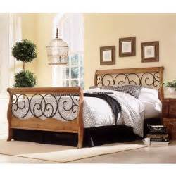 Rod Iron And Wood Bed Frames Dunhill Wood And Iron Bed Autumn Brown Honey Oak Finish