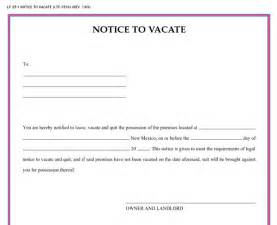 Notice To Vacate Template free printable intent to vacate letter template vacate