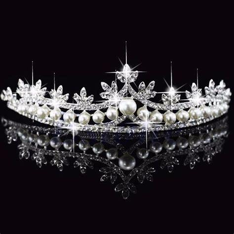 Wedding Crown bridal princess rhinestone pearl hair tiara wedding crown veil headband ebay