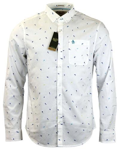 020 Blouse White Pinguin original penguin west palm retro 70s summer motif shirt in
