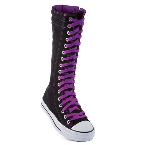 womens knee high canvas boots casual flat sneakers lace up