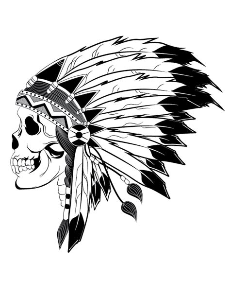 indian chief skull illustration design pinterest