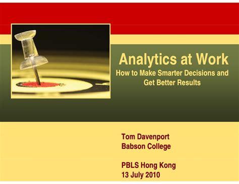 better analytics davenport analytics at work how to make better