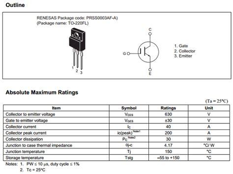 transistor rjh30e2 datasheet rjp63f3 transistor igbt n 630v 28 images rjp63f3 rjp63f3a 630v 40a n ch igbt rjp63f3a